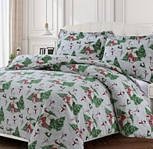 Snowman Cotton Flannel Printed Oversized King Duvet Set