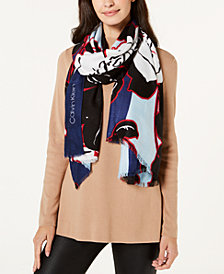 Calvin Klein Bold Graphic Floral-Print Scarf