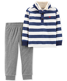Carter's Baby Boys 2-Pc. Striped Rugby Shirt & Jogger Pants Set