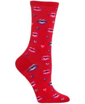 Women'S Lips Socks in Red
