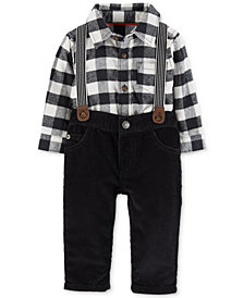 Carter's Baby Boys 2-Pc. Flannel Bodysuit & Suspender Corduroy Pants Set