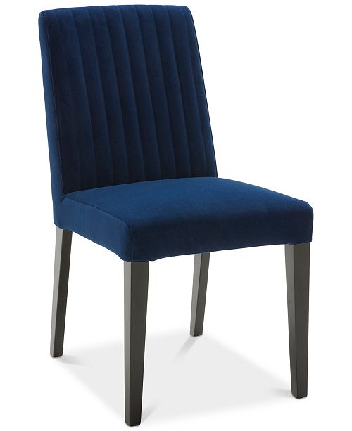 Furniture CLOSEOUT! Elinor Velvet Sapphire Channel Back Chair