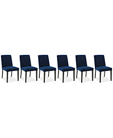 Elinor Velvet Channel Back Chair, 6-Pc. Set (6 Sapphire Chairs)