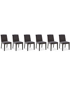 Elinor Velvet Channel Back Chair, 6-Pc. Set (6 Dark Gray Chairs)