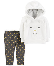 Carter's Baby Girls 2-Pc. Bear Hoodie & Heart Leggings Set