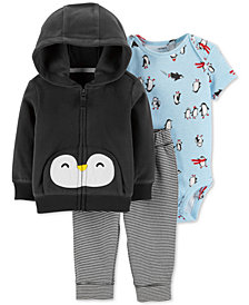 Carter's Baby Boys 3-Pc. Penguin Hoodie, Penguin-Print Bodysuit & Striped Pants Set