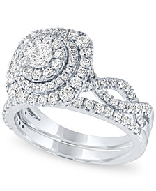 Diamond Halo Bridal Set (1 1/4 ct. t.w.) in 14k White Gold