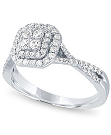 Diamond Halo Cluster Ring (1/2 ct. t.w.) in 14k White Gold