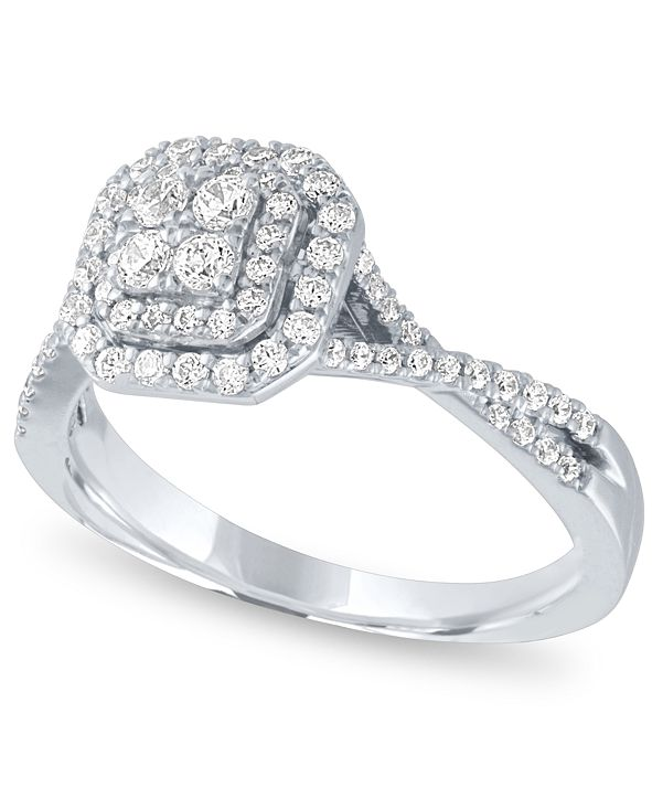 Macy's Diamond Halo Cluster Ring (1/2 ct. t.w.) in 14k White Gold