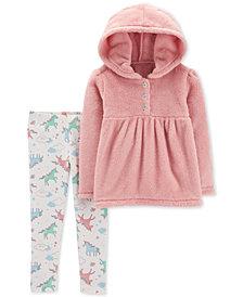 Carter's Baby Girls 2-Pc. Fuzzy Hoodie & Unicorn-Print Leggings Set