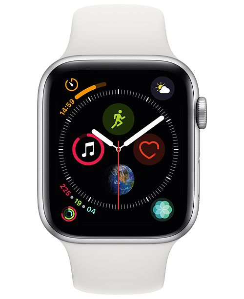 separation shoes 3f1b0 747e4 Apple Watch Series 4 GPS + Cellular, 44mm Silver Aluminum Case with White  Sport Band