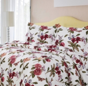 Blossoms Cotton Flannel Printed Oversized Queen Duvet Set Bedding