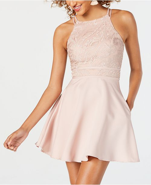 c0ba6692b Speechless Juniors' Embroidered Halter Fit & Flare Dress & Reviews ...