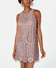 Speechless Juniors' Lace Sheer-Hem Shift Dress