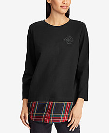 Lauren Ralph Lauren  Petite Plaid-Inset Cotton Top