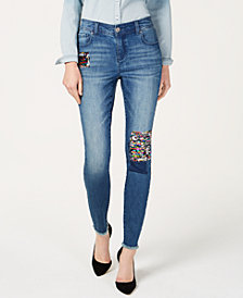 I.N.C. Sequin-Patch Skinny Jeans, Created for Macy's
