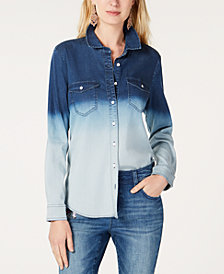 I.N.C. Ombré Jean Shirt, Created for Macy's