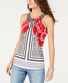 I.N.C. Printed Twisted Halter Top, Created for Macy's