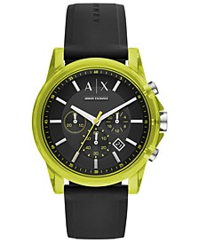 Men's Chronograph Outer Banks Black Silicone Strap Watch 44mm
