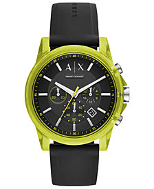 A|X Armani Exchange Men's Chronograph Outer Banks Black Silicone Strap Watch 44mm