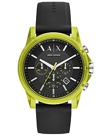 A|X Armani Exchange Men's Chronograph Outer Banks Black Silicone Strap Watch 44mm