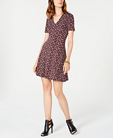 MICHAEL Michael Kors Petite Leaf-Print Fit & Flare Dress