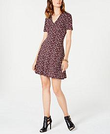 MICHAEL Michael Kors Petite Leaf-Print Fit & Flare Dress