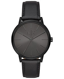 A|X Men's Cayde Black Leather Strap Watch 42mm