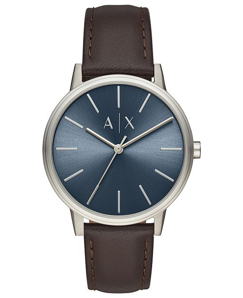 Armani Exchange A|X Men's Cayde Brown Leather Strap Watch 42mm