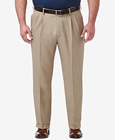 Haggar Men's Big & Tall Premium Comfort Stretch Classic-Fit Solid Pleated Dress Pants