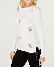 I.N.C. Brooch-Embellished Ribbed Sweater, Created for Macy's