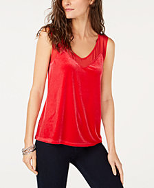 I.N.C. Petite Velvet Illusion V-Neck Tank Top, Created for Macy's