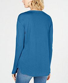 I.N.C. Petite Split-Neck Top, Created for Macy's