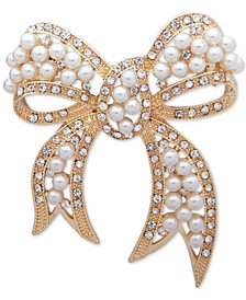 Gold-Tone Pavé & Imitation Pearl Bow Pin, Created for Macy's