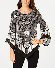 Alfani Petite Printed Point-Hem Top, Created for Macy's