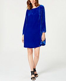 Eileen Fisher Velvet Bateau-Neck Shift Dress