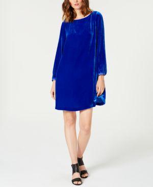 Eileen Fisher Velvet Bateau-Neck Shift Dress 7115783