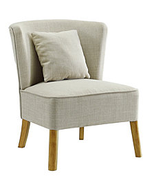 Accent Chair with Curved Back in Ivory