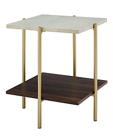 20 inch Square Side Table in Faux Marble and Gold