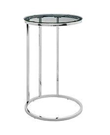 16 inch Round C Table with Clear Glass Top and Chrome Base