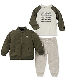 Calvin Klein Baby Boys 3-Pc. Bomber Jacket, Cars-Print T-Shirt & Jogger Pants Set