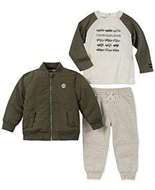 Calvin Klein Baby Boys 3-Pc. Bomber Jacket, Cars-Print T-Shirt & Jogger Pants Set