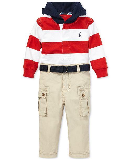 ca0b19274 Polo Ralph Lauren Baby Boys Cotton Rugby Hoodie   Cargo Pants Set ...