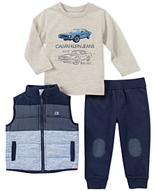 Calvin Klein Baby Boys 3-Pc. Colorblocked Vest, Car-Print T-Shirt & Jogger Pants Set
