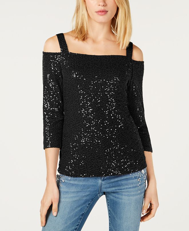 INC International Concepts INC Sequined Cold-Shoulder Top, Created for Macy's