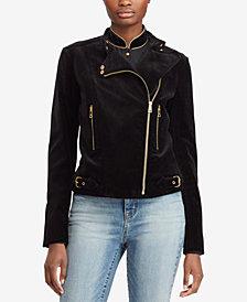 Lauren Ralph Lauren Stretch-Velvet Moto Jacket