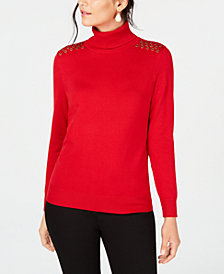 JM Collection Embellished Turtleneck Sweater, Created for Macy's