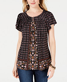Style & Co Petite Pleated Printed Top, Created for Macy's