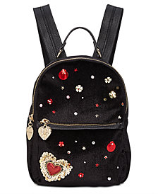 Betsey Johnson Heart Velvet Backpack