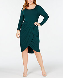 Soprano Trendy Plus Size Tulip-Hem Dress